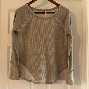 Mystree tan multi fabric sweater, size small